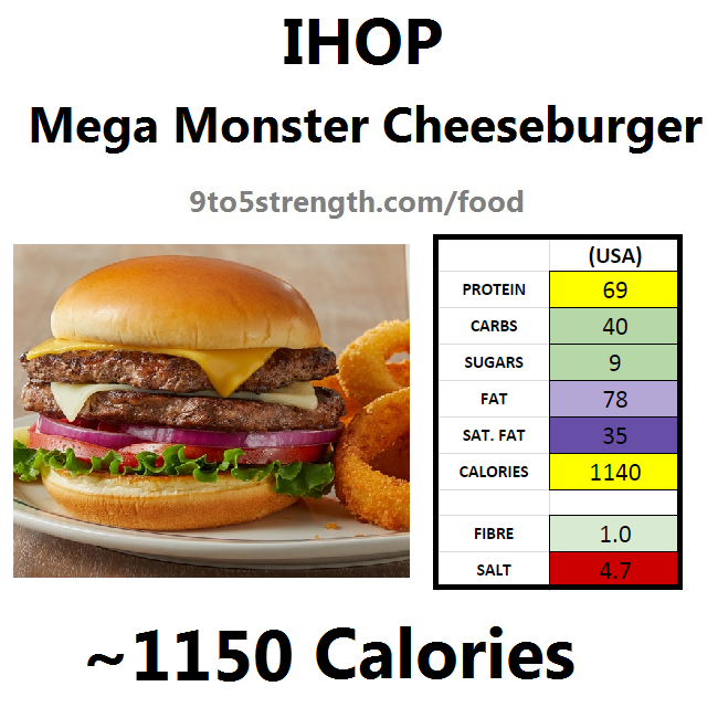nutrition information calories IHOP mega monster cheeseburger