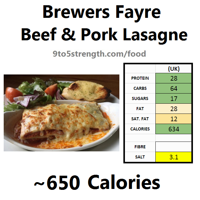 brewers fayre nutrition information calories beef pork lasagne