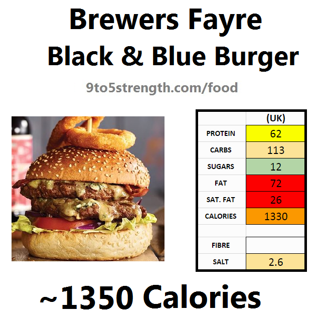 brewers fayre nutrition information calories black blue burger