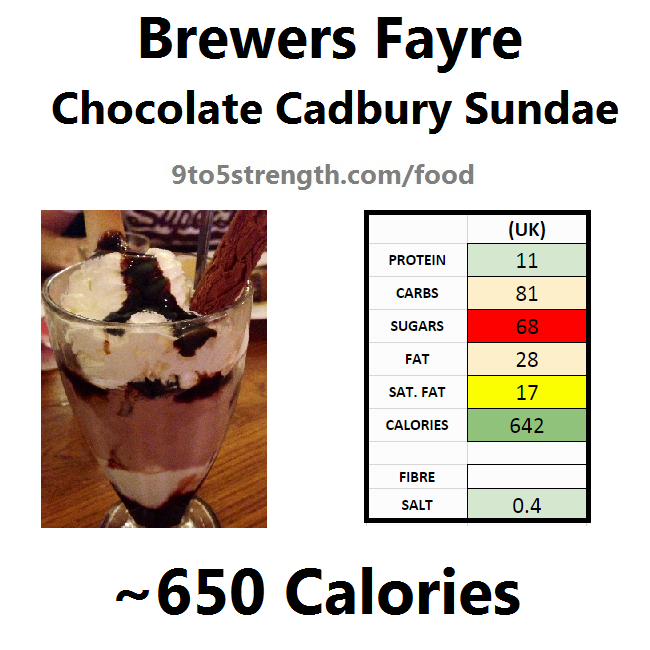 brewers fayre nutrition information calories chocolate cadbury sundae