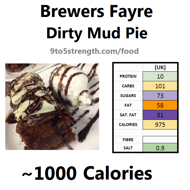 brewers fayre nutrition information calories dirty mud pie