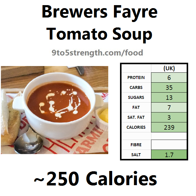 brewers fayre nutrition information calories tomato soup