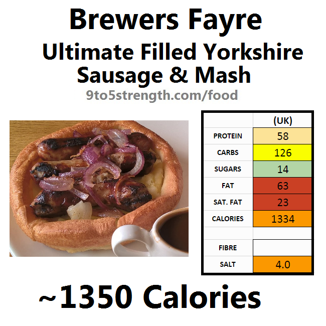 brewers fayre nutrition information calories ultimate filled yorkshire sausage mash