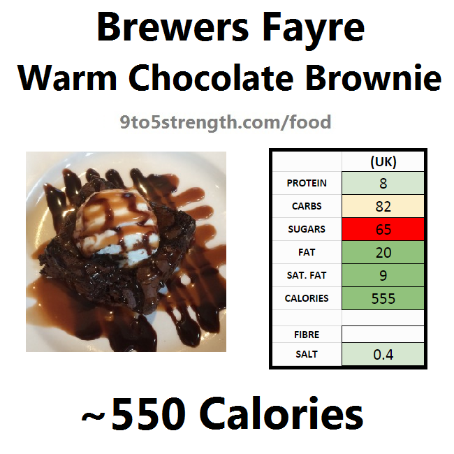 brewers fayre nutrition information calories warm chocolate brownie