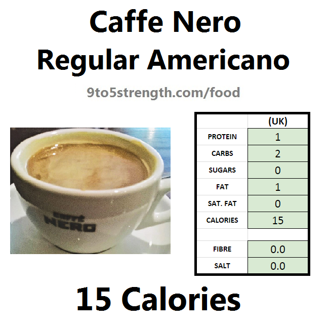 nutrition information calories caffe nero regular americano