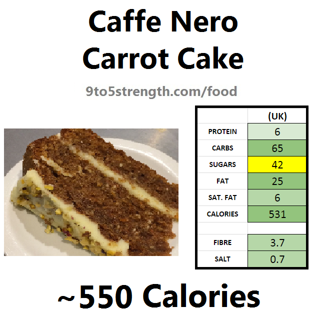 nutrition information calories caffe nero carrot cake