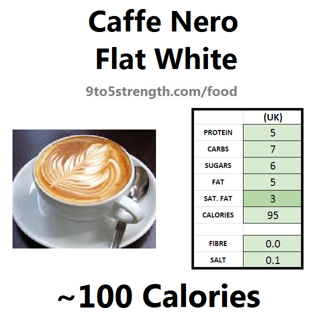 nutrition information calories caffe nero flat white
