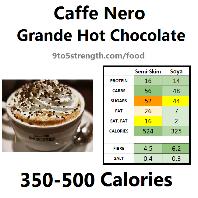 nutrition information calories caffe nero hot chocolate