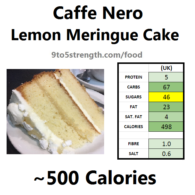 nutrition information calories caffe nero lemon meringue cake