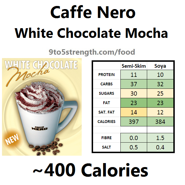 nutrition information calories caffe nero white chocolate mocha