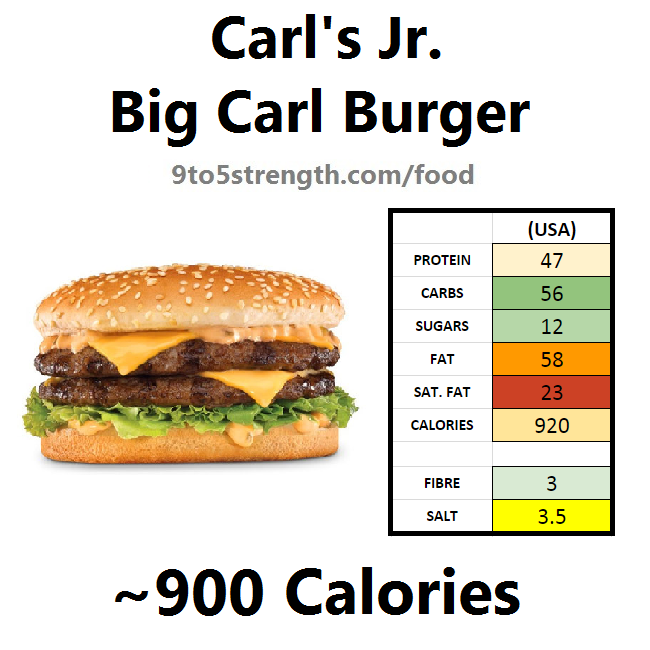 carl's jr calories nutrition information big carl burger
