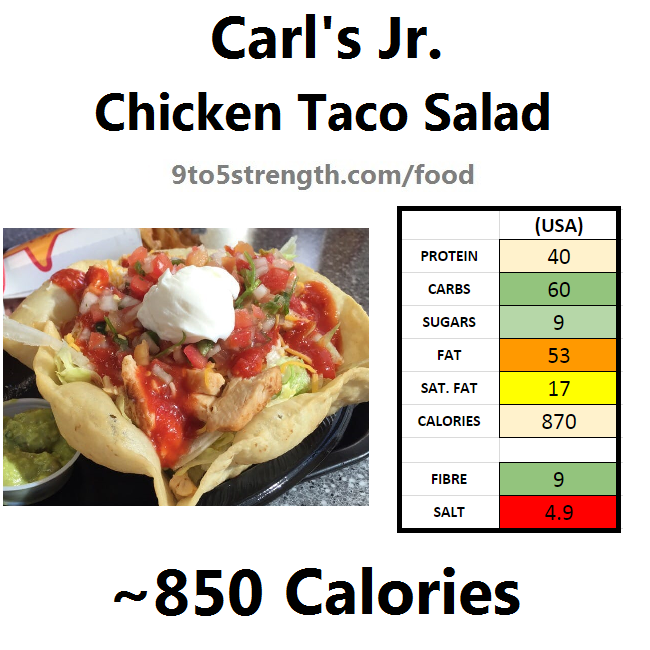 carl's jr calories nutrition information chicken taco salad
