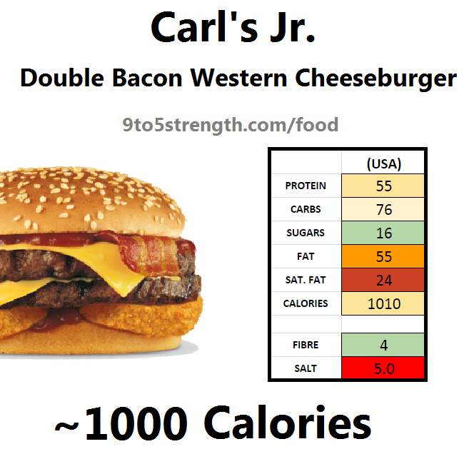 carl's jr calories nutrition information double bacon western cheeseburger