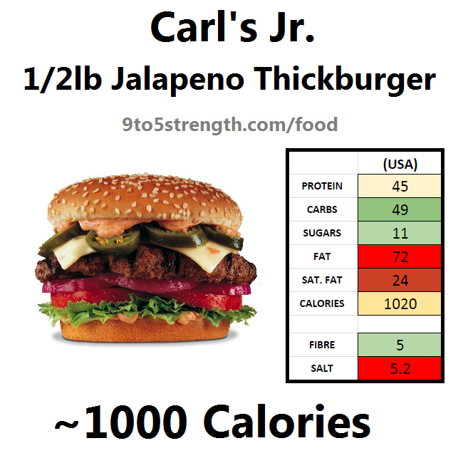 carl's jr calories nutrition information jalapeno thickburger