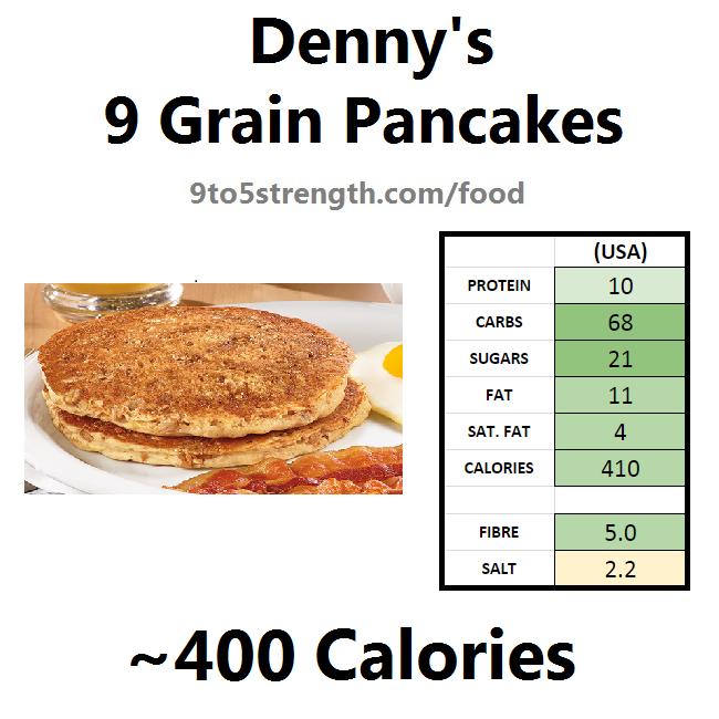 denny's nutrition information calories menu 9 grain pancakes