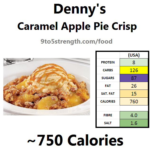 denny's nutrition information calories menu caramel apple pie crisp
