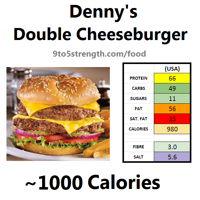 denny's nutrition information calories menu double cheeseburger
