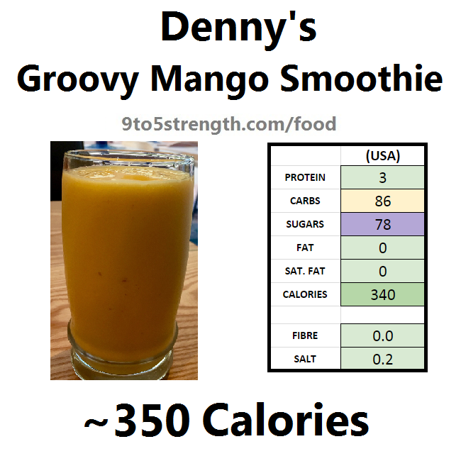 denny's nutrition information calories menu groovy mango smoothie
