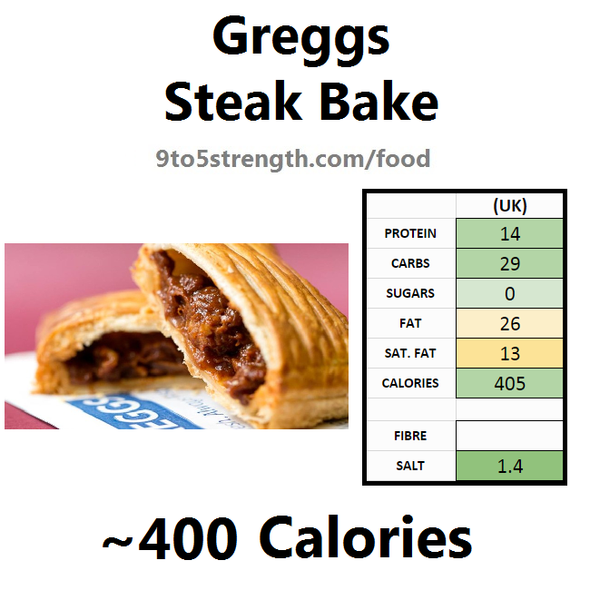 greggs nutrition information calories steak bake