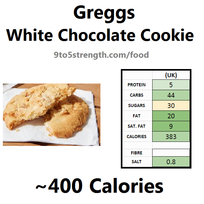 greggs nutrition information calories white chocolate cookie
