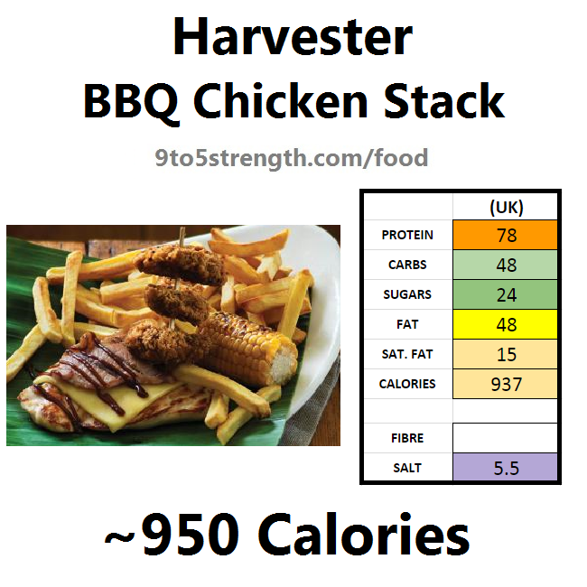 harvester nutrition information calories bbq chicken stack