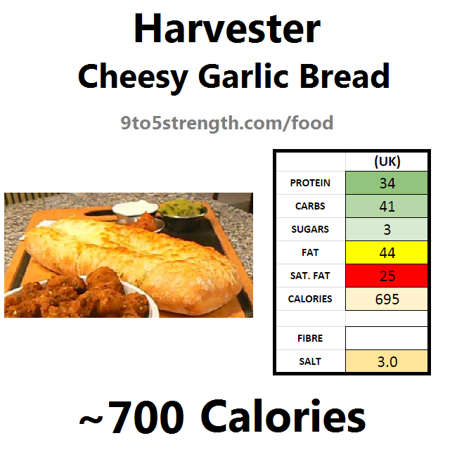 harvester nutrition information calories cheesy garlic bread