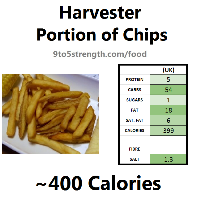harvester nutrition information calories portion chips