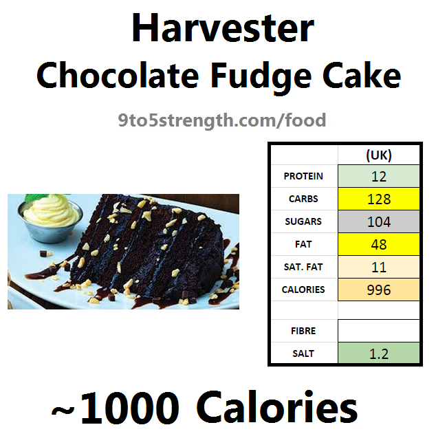 harvester nutrition information calories chocolate fudge cake