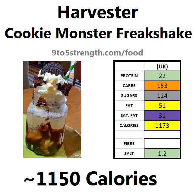 harvester nutrition information calories cookie monster freakshake