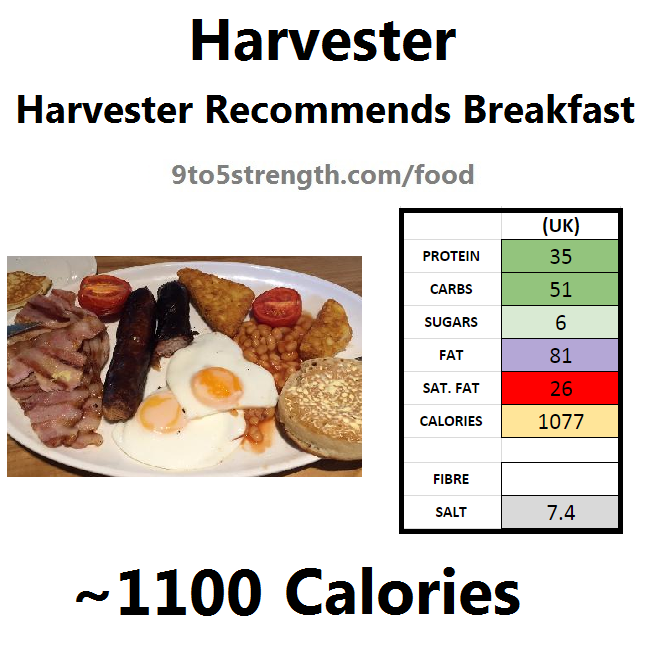harvester nutrition information calories large breakfast