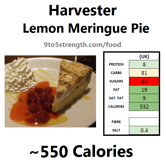 harvester nutrition information calories lemon meringue pie