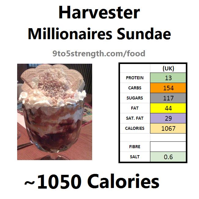 harvester nutrition information calories millionaires sundae