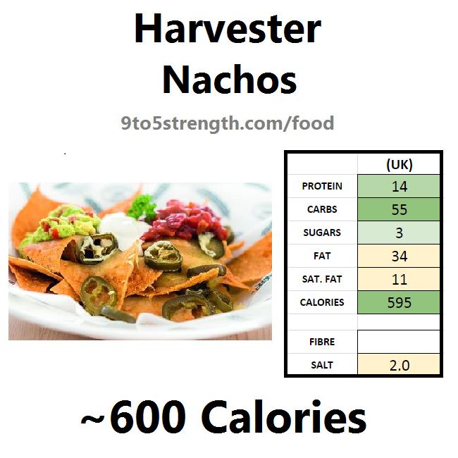 harvester nutrition information calories nachos