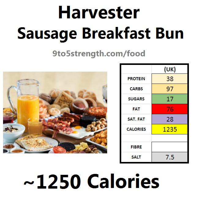 harvester nutrition information calories sausage breakfast bun