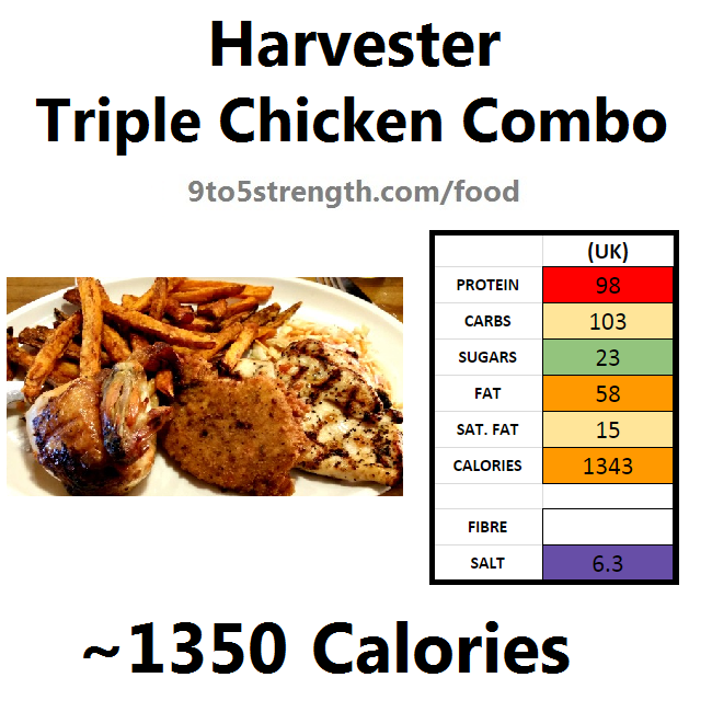 harvester nutrition information calories triple chicken combo