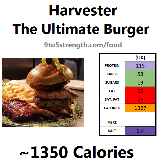 harvester nutrition information calories ultimate burger