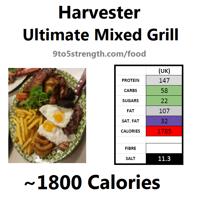 harvester nutrition information calories ultimate mixed grill