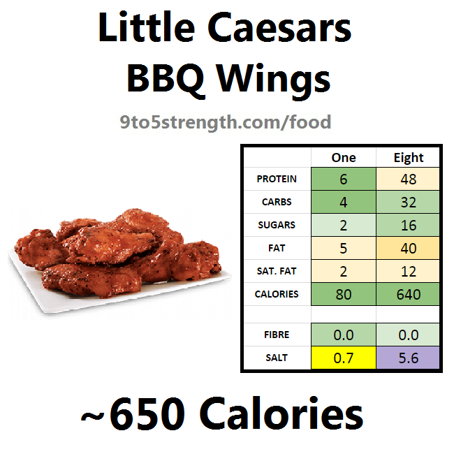 little caesars calories nutrition information bbq wings