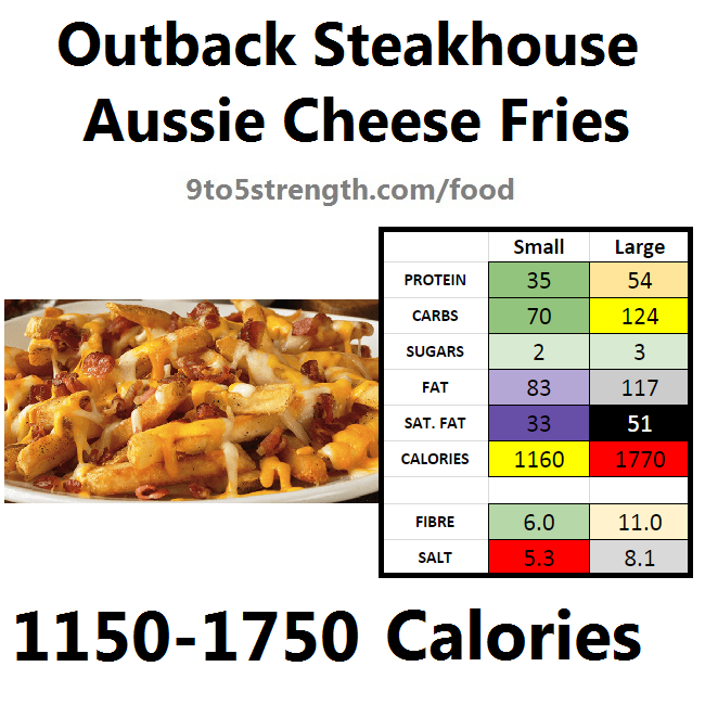 Outback Steakhouse Calories Nutrition Info Menu Aussie Cheese Fries