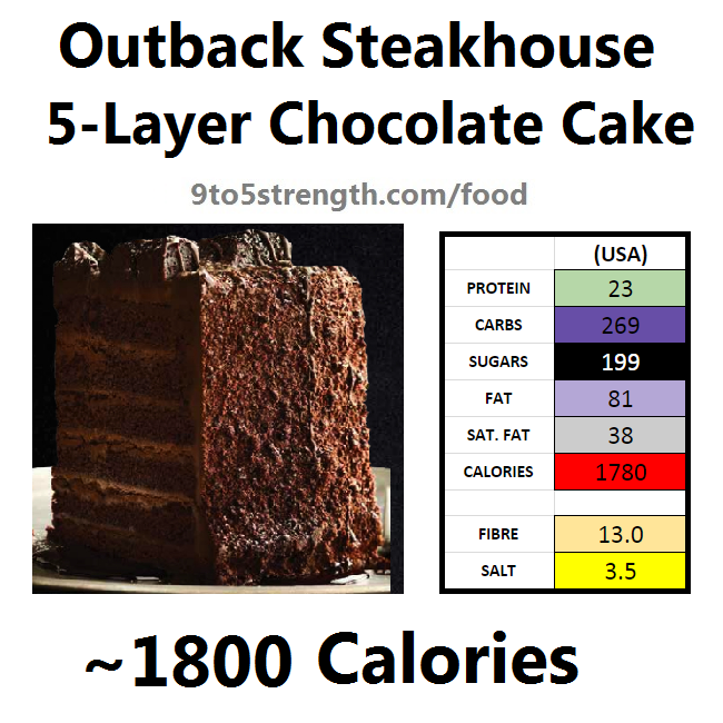 outback steakhouse calories nutrition info menu 5 layer chocolate cake
