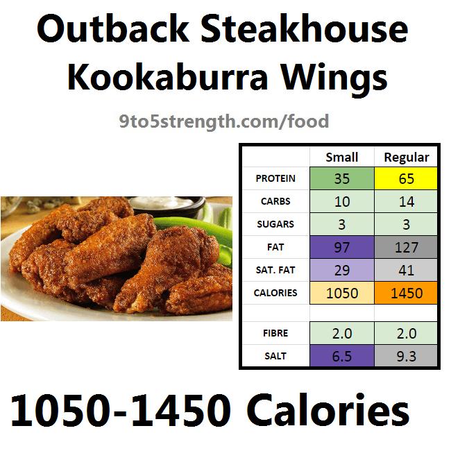 outback steakhouse calories nutrition info menu kookaburra wings