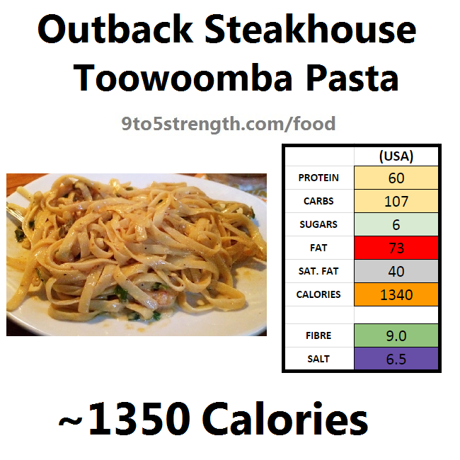 outback steakhouse calories nutrition info menu toowoomba pasta