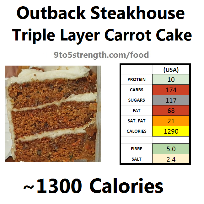 outback steakhouse calories nutrition info menu triple layer carrot cake