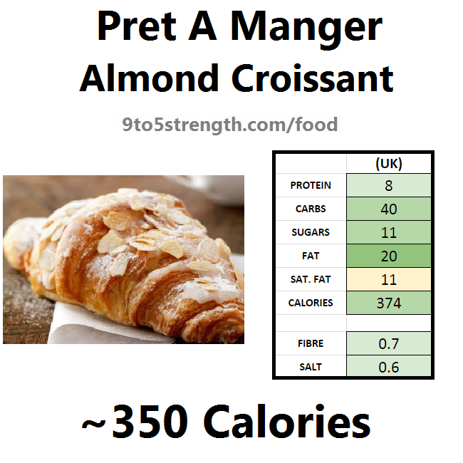 nutrition information calories pret almond croissant
