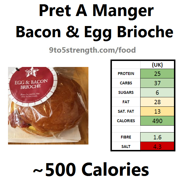 nutrition information calories pret bacon egg brioche