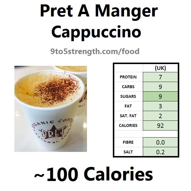 nutrition information calories pret cappuccino