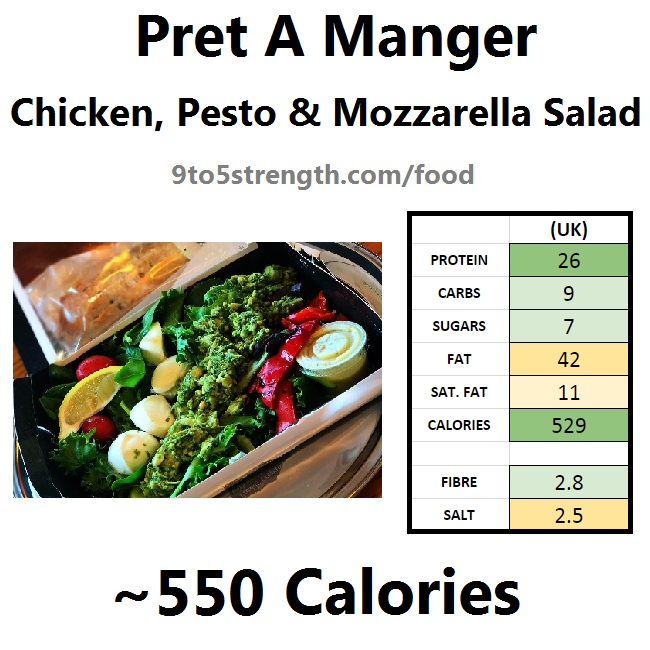 nutrition information calories pret chicken pesto mozzarella salad