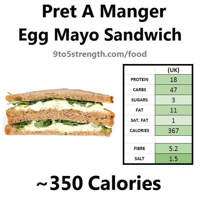 nutrition information calories pret egg mayo sandwich