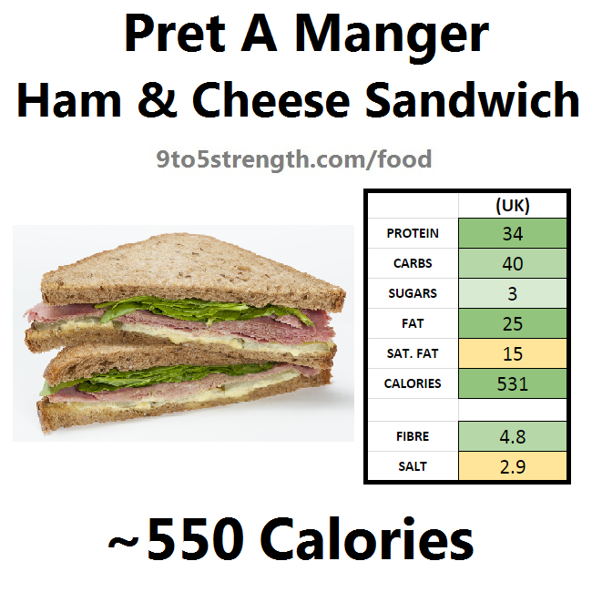 nutrition information calories pret ham cheese sandwich