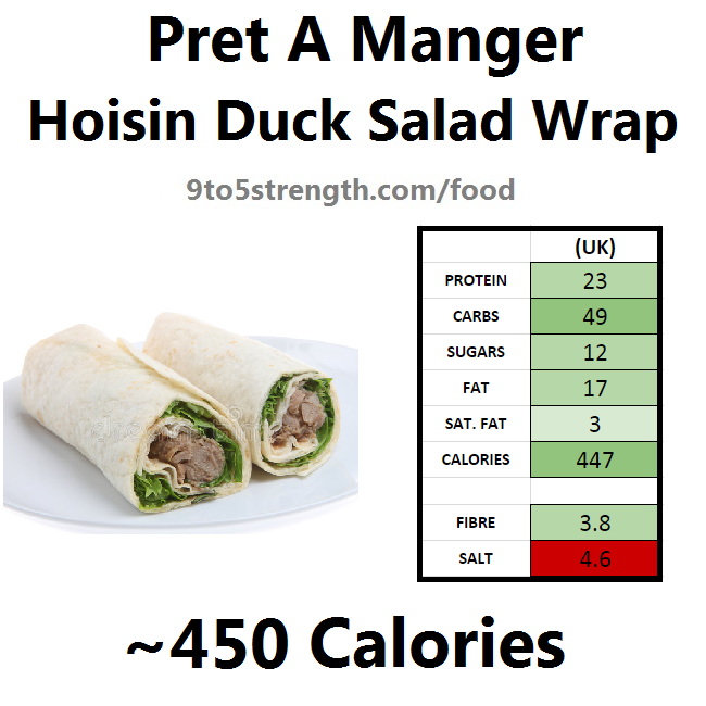 nutrition information calories pret hoisin duck salad wrap